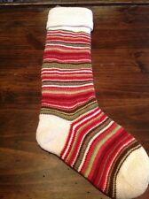 New Pottery Barn Kids Fair Isle Knit Christmas Stocking Ivory Thin Stripe *read