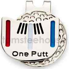 "2x ""One - Putt"" Golf Ball Marker & 2 x  Magentic Hat Clip"