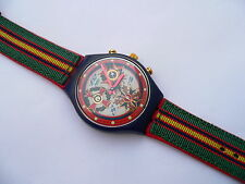 1995 SWATCH  Watch  The Top Brass  Chronograh Textil  over Leather Band SCN116