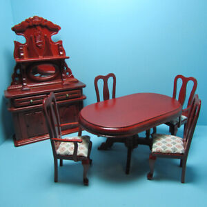 Dollhouse Miniature Wood Mahogany Dining Room Set with Sideboard T3347