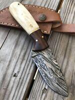 HAND FORGED DAMASCUS STEEL Hunting  KNIFE W/ Bone & Rose Wood HANDLE Q-DD