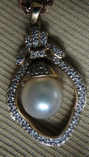 Large White w Silver Cast South Sea Pearl with Diamonds 14K Yellow Gold Pendant