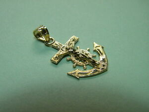 Anchor Cross Mariners Cross - Small 3/4ths inch tall x 5/8th 14K Yellow Gold