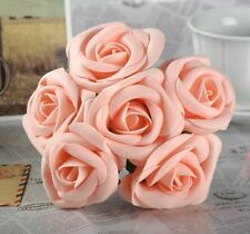Decoration Flowers Wedding Rose Real Touch Pink Foam Roses Party Home Table 4pcs