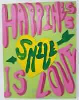 Vintage Hippie Happiness is Love Smile Painting Textured Bright Handmade Wood
