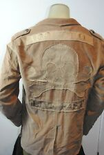 NWT AFFLICTION Corduroy Tan JACKET Blazer SQUADRON AJ903 SKULL MILITARY L 44-46