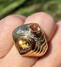 14K Yellow Gold Mirrored Twin Pear Citrine Diamond Vintage Dome Ribbed Ring 1960
