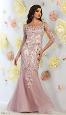 NEW RED CARPET EVENING MERMAID DRESSES PROM DANCE FORMAL DEMURE GOWN 3/4 SLEEVE