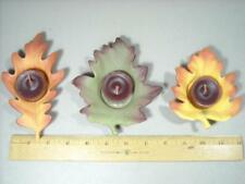 PARTYLITE WHISPERING LEAF CANDLE / TEALIGHT HOLDERS SET OF 3 FALL AUTUMN