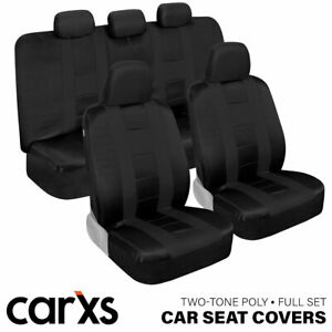 Solid Black Car Seat Covers Full Set Front and Rear Bench for Auto Truck SUV