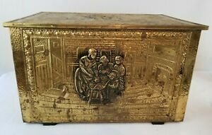 Vintage Brass Metal on Wood Kindling Coal Firewood Box Storage Chest Raised Tin