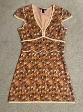 MARC JACOBS Peach Brown Cream Polka Dot Swiss Dot Dress Size 10 Women's pink