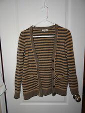 Madewell Camel and Grey Stripe Cardigan Sweater 100% Merino Wool Women's Size M