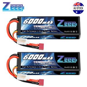 2pcs 2S 6000mAh 80C 7.4V Hardcase Lipo Battery Deans Plug for RC Car Truck Boat