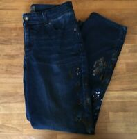 NWT Chicos So Slimming Ankle Sequin Embellished Jeans Sz 0.5 S 6 Dark Wash $109