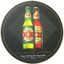 DOS EQUIS CERVEZA & AMBER Beer COASTER, Mat, MEXICO 2009, Man & Happy Hour Theme