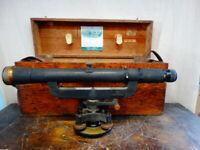 Vintage Keuffel & Esser Co. P5103 Surveyor Level Transit & Original Wooden Case