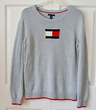 Vintage Tommy Hilfiger Women's XL Cotton Sweater Gray Flag