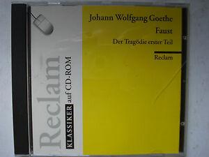 Faust Der Tragodie erster Teil Johann Wolfgang Goethe on CD-ROM German Language