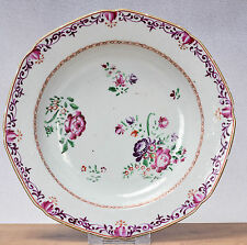 Antique 1780 Qianlong Famille Rose Chine de Commande Export Plate Flowers Qing
