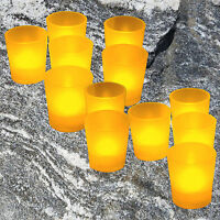 12 LED Votive Candle Amber Bath Living Dining Room Home Battery Operated US SELL