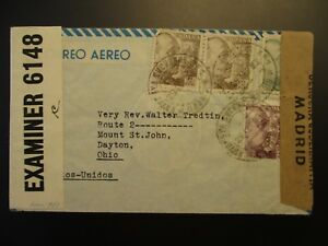 1943 Madrid Spain Colonel to Dayton Ohio USA Military Censorship Airmail Cover