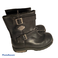 HARLEY DAVIDSON Black Leather Side Zip & Buckle Motorcycle Boots 91724 Mens 10.5