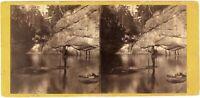 USA Bianco Mountain Franconia Porta The Pool Foto Stereo Vintage Albumina c1865