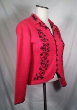 Samantha Taylor Sweater Cardigan Silk Angora Embroidered Red Black Women's S