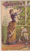 Victorian Medicine Trade Card Grapoline A H Rogers Geneseo NY Woman Picks Grapes