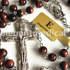 RED Tiger Eye Bead & Silver Rose Beads ROSARY CROSS NECKLACE CRUCIFIX CATHOLIC