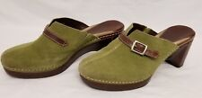 COLE HAAN CORDELIA Green Suede Leather Heeled Mules Shoes Buckle Women's Size 6B