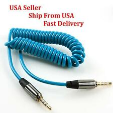 4ft 4-Pole Spring Coiled 3.5mm Aux Cable Gold Stereo Audio Auxiliary Cord Blue
