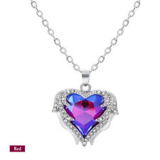 925Silver Angel Wing Necklace Heart Rhinestone Crystal Chain Pendant Jewelry NEW