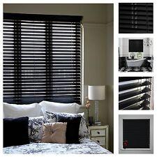 Black Classic 45CM Wide 150CM Drop 25MM PVC Slats Venetian Blinds w/ Fitting