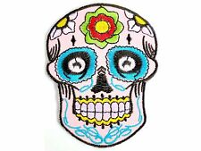 Day Of Dead Rockabilly Death Mask Skull Embroider Biker Iron On Pink Patch 3.5""