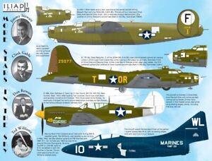B-17, B-24, P-40, F9F: Stars in the Sky: Jimmy Stewart (1/72 decals Iliad 72007)