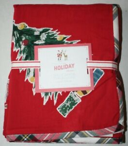 "Pottery Barn Kids Holiday Collection Jolly Santa Tablecloth 70"" X 90"""