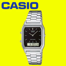 Mens Black / Silver Casio Watch Dual Time Analog Digital Steel Band AQ-230A-1DMQ