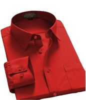 Mens Regular Fit Long Sleeve Solid Color One Pocket Oxford Shirt Red