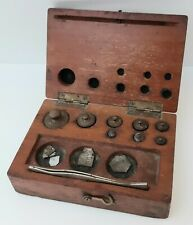 Antique/vintage apothecary/jewellery scale weight set, original box & contents