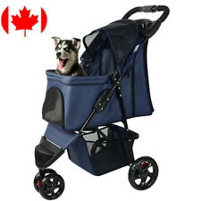 LIVINGbasics®  3-Wheel Pet Stroller Foldable Carrier Strolling Cart For Cat Dog