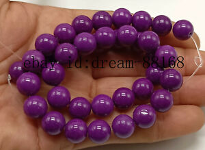 "Natural 10mm Round Purple Phosphosiderite Loose Beads Jewelry Strand 15"" AAA"