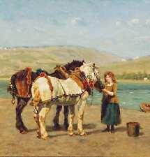 Impressionist Russland ? Treidler Pferde am Fluss Treideln Leinpfad русский ?