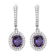 Amethyst Drop Earrings .925 Sterling Silver CZ Earrings Purple Dangle Earrings