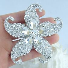 "Wedding 3.15"" Starfish Brooch Pin Pendant Clear Rhinestone Crystal 04824C6"