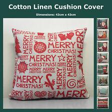 Christmas Xmas 9 Designa Cotton Linen Cushion Cover Home Decor Throw Pillow Case