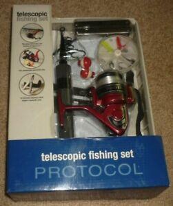 """PROTOCOL Telescopic Fishing Set, Kit, 51"""" Rod, Reel, Hooks, Multi Tool New #8512"""