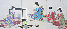 "Chikanobu Japanese Woodblock Original Print ""Tea Ceremony"" triptych"