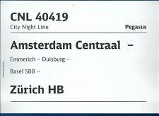 PLAQUE DE DIRECTION CHEMINS DE FER HOLLANDAIS AMSTERDAM-ZURICH (DOUBLE FACE)